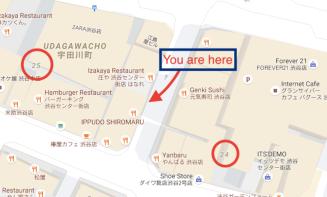 Street map of the ward Shibuya in Tokyo.